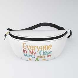 Back to School Teacher graphic Everyone Starts With an A design Fanny Pack