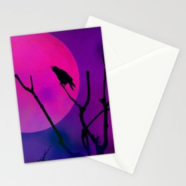 The Crow And The Pink Moon Stationery Cards