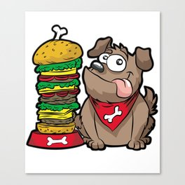 HAPPY DOG WITH HAMBURGER Fastfood Puppy Doggie Canvas Print