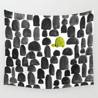 turtle Wall Tapestries featuring Turtle in Stone Garden by Picomodi