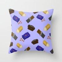 junk food Throw Pillows featuring Junk Food by Danielle Davis