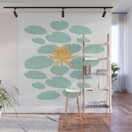 Water Lily Flower and Pads Illustration Wall Mural