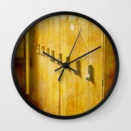 Old Orange Lockers Wall Clock