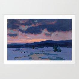 Clarence Gagnon - Crépuscule d'hiver - Winter Twilight, Baie St. Paul - Canadian Oil Painting Art Print