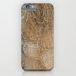 textured jute fabric for background and texture iPhone Case