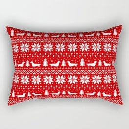 Longhaired Dachshund Silhouettes Christmas Sweater Pattern Rectangular Pillow