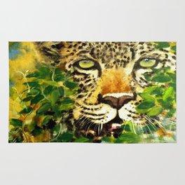 Wildlife Painting Series 3 - Leopard in preying pose Rug