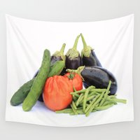 vegetables Wall Tapestries featuring Vegetables together by Carlo Toffolo