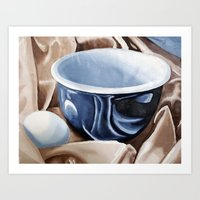 Oil paint on paper painting still life of and egg and a bowl Art Print