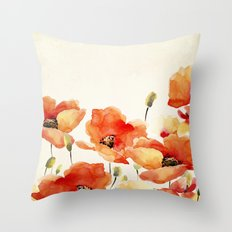 Poppy Flower Meadow- Floral Summer lllustration Throw Pillow