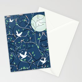 Art Nouveau Moon with Doves (Blue and Silver) Stationery Cards
