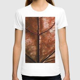 MACHO MANS ART OLD LEATHERY BROWN LEAF T-shirt