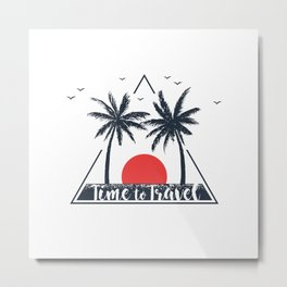 Time To Travel. Sunset. Palms. Geometric Style Metal Print