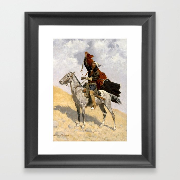 "Frederic Remington Western Art ""The Blanket Signal"" Gerahmter Kunstdruck"