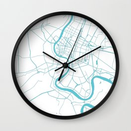 Bangkok Thailand Minimal Street Map - Turquoise and White II Wall Clock