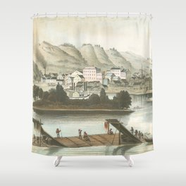 Vintage Pictorial View of Dubuque IA (1854) Shower Curtain