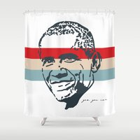 obama Shower Curtains featuring Obama Stripes by Cushy Diplomacy