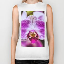 Single Purple, Violet & White Orchid Closeup Biker Tank