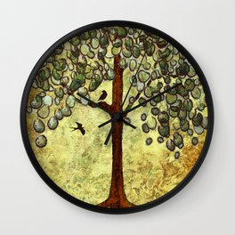 Two Birds and Their Favorite Tree Wall Clock