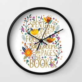 Folded Between the Pages of Books - Floral Wall Clock