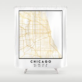 CHICAGO ILLINOIS CITY STREET MAP ART Shower Curtain