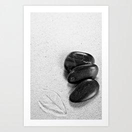 massage stones and leaf mark Art Print