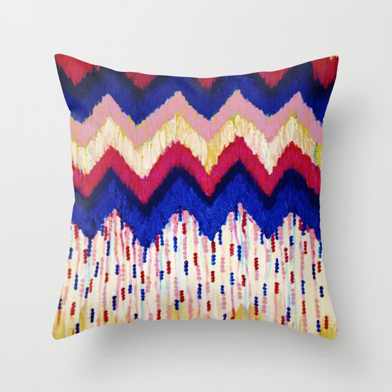 SHINE ON, Revisited - Americana Red White Blue USA Abstract Acrylic Painting Home Decor Xmas Gift Throw Pillow