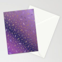 shiny music notes dark purple Stationery Cards