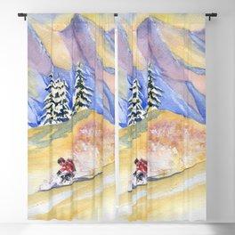 Powder Skiing Art Blackout Curtain