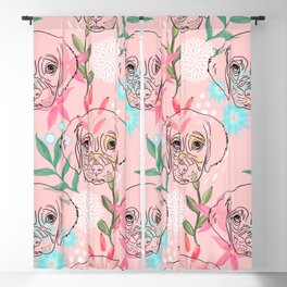Cute Puppy Dog and Flowers Pink Creative Art Blackout Curtain
