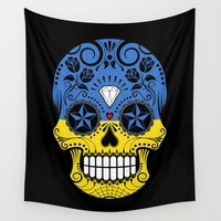 ukraine Wall Tapestries featuring Sugar Skull with Roses and Flag of Ukraine by Jeff Bartels