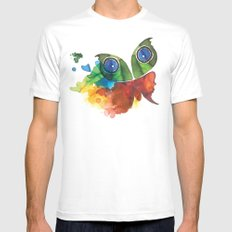 colorful butterfly Mens Fitted Tee White MEDIUM