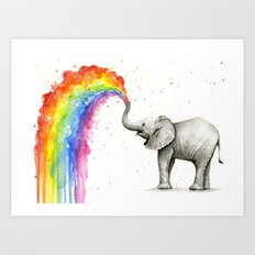 Baby Elephant Spraying Rainbow Whimsical Animals Art Print