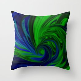 Blue and Green Wave Throw Pillow