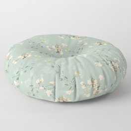 Sweet pea botanical pattern in green Floor Pillow
