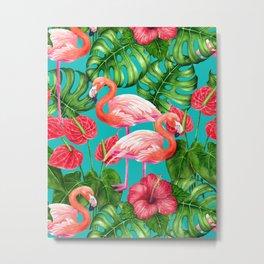 Flamingo birds and tropical garden          watercolor Metal Print