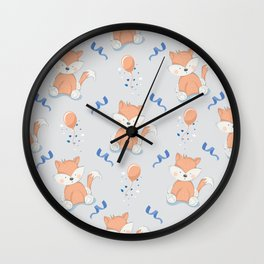 Happy Birthday Orange Fox Light Grey Background Pattern Wall Clock