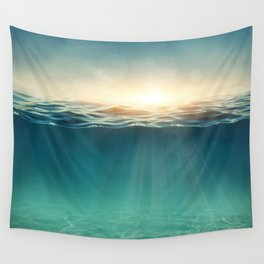 Breeze of the blue ocean Wall Tapestry
