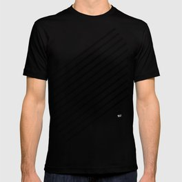 Stripes Diagonal Black White Minimal Design T-shirt
