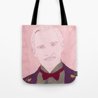 the grand budapest hotel Tote Bags featuring The Grand Budapest Hotel II by Itxaso Beistegui Illustrations