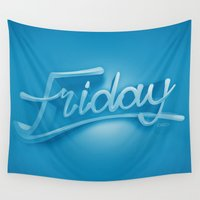 friday Wall Tapestries featuring Friday by CKGD