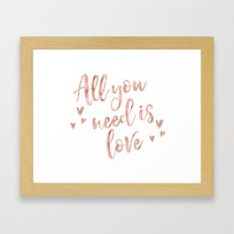 All you need is love - rose gold and hearts Framed Art Print