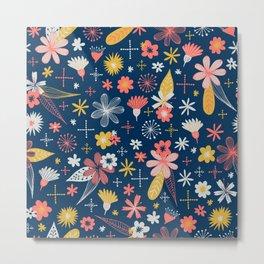 funky little floral pattern Metal Print