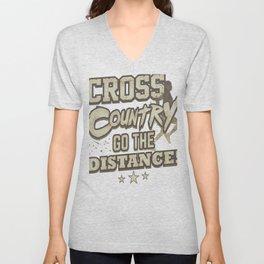 Running Addict Cross Country Runner Go the Distance Unisex V-Neck