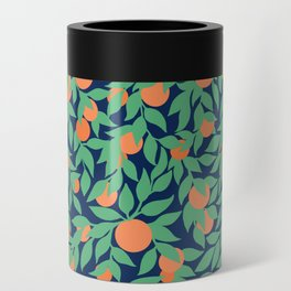 Oranges and Leaves Pattern - Navy Blue Can Cooler
