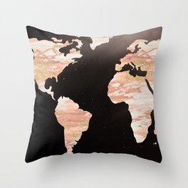 Earth Map Rose Gold Glitter Marble Space Throw Pillow