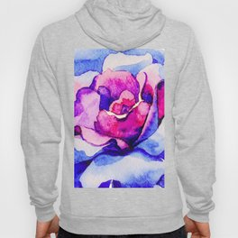 Pink And Blue Rose In Full Bloom Hoody