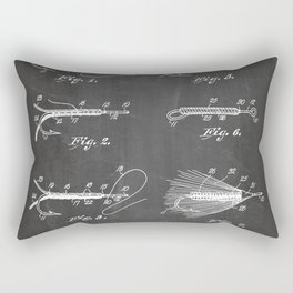 Fly Fishing Patent - Fisherman Art - Black Chalkboard Rectangular Pillow
