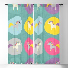 Cute Unicorn polka dots teal pastel colors and linen texture #homedecor #apparel #stationary #kids Blackout Curtain