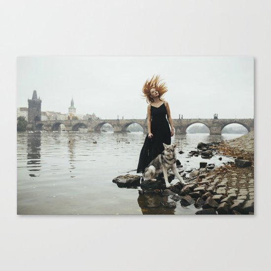 Girl and a wolf Canvas Print
